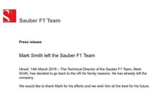 Sauber's Technical Director, Mark Smith, leaves