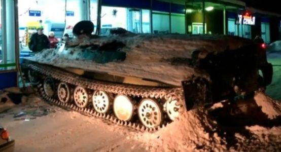 Just Another Night In Russia: Man Steals Armored Personnel Carrier And Crushes A Daewoo