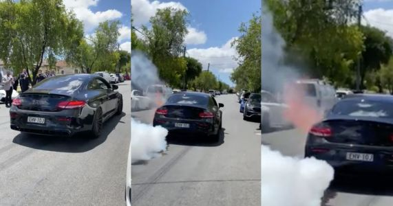 AMG C63 Driver's Burnout Attempt Results In Engine Explosion And Catastrophic Fire