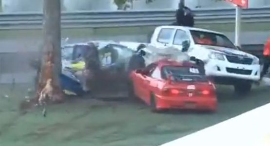 Massive Honda Civic Racing Crash Splits Car In Half and Throws Driver From Car