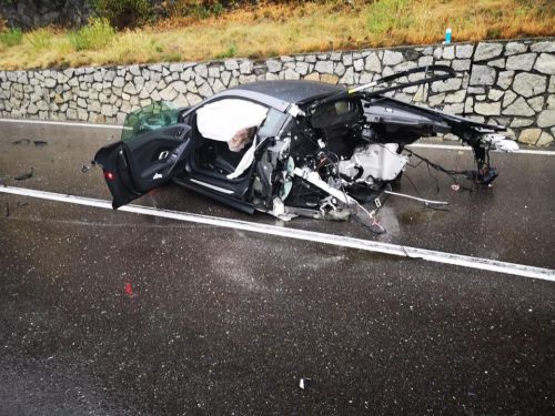 Audi R8 Driver Walks Away After Car Splits In Two