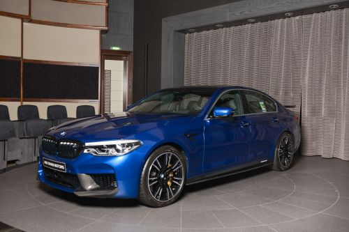 Marina Bay Blue Metallic M5 Gets M Performance Parts and Schnitzer Wing