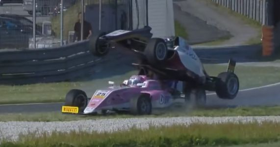 One F4 Car Hitches A Ride On Top Of Another In This Bizarre Crash