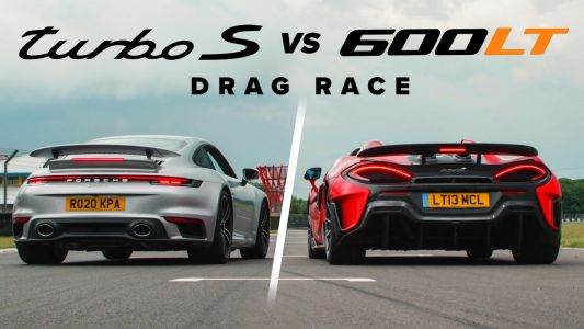 Porsche 911 Turbo S Embarrasses McLaren 600 LT Spider in Drag Race