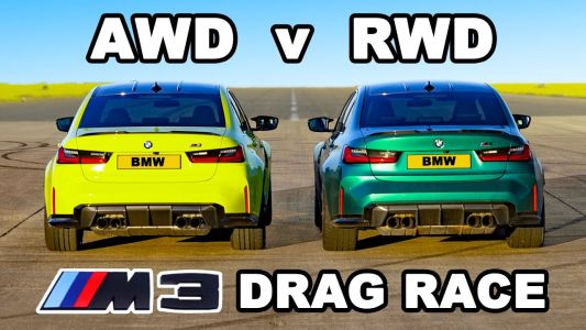 BMW M3 Competition xDrive vs BMW M3 Competition RWD Drag Race