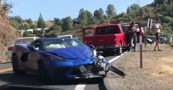 Here's The Aftermath Of The First C8 Corvette Crash