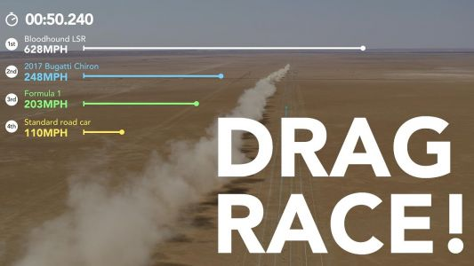 Watch Simulated Drag Race of Bloodhound LSR, F1 Car, Bugatti Chiron and Regular Car