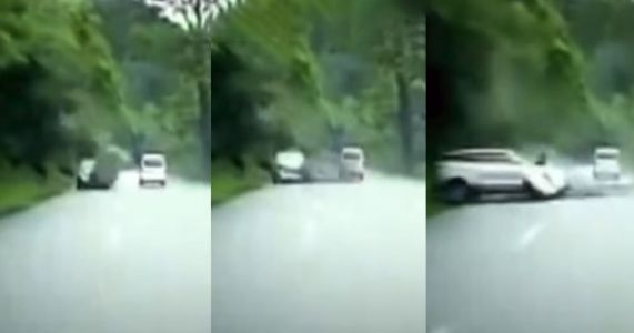 Watch The Terrifying Moment A Massive Boulder Strikes A Moving Car
