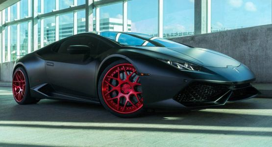 Matte Black Wrap And Red Rims Are A Nice Combo For The Lamborghini Huracan