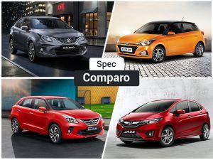 Toyota Glanza vs Baleno vs Elite i20 vs Jazz Specification Comparison