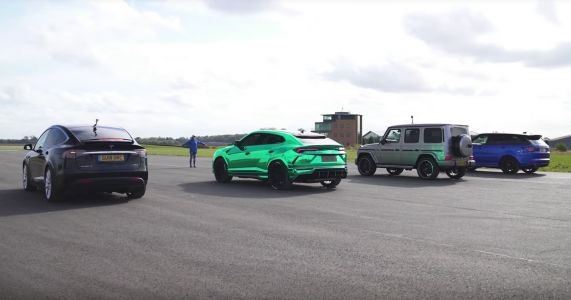 Heavyweight Drag Race Features Urus, Model X, G63 And RR Sport SVR