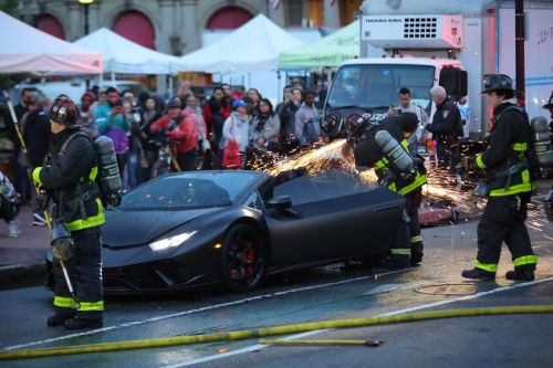 Watching Firefighters Cutting A Lamborghini Huracan Performante Apart Is Cringe City