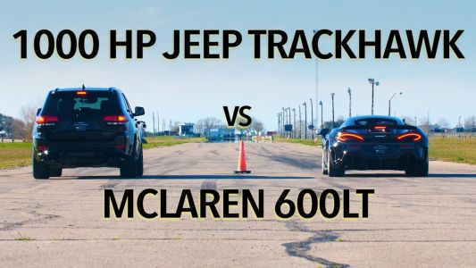 Watch McLaren 600LT Hunt Down 1,000 HP Jeep Trackhawk In Drag Race