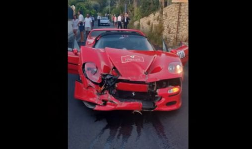 Watch A Ferrari F50 Crash Into a 488 Pista Piloti On Cavalcade 2019