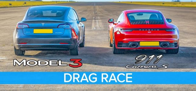 Tesla Model 3 vs Porsche 911 Carrera S Is Drag Race Is Very Close
