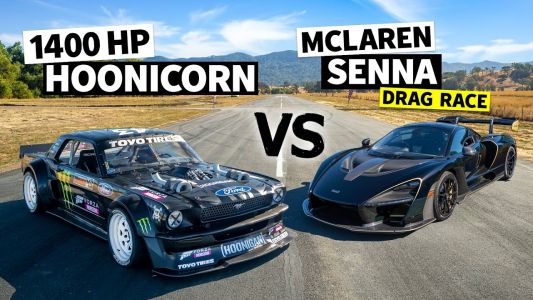 Watch Ken Block's Hoonicorn Obliterate The McLaren Senna In A Drag Race