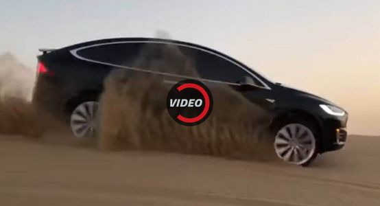 Tesla Model X Goes Sand Surfing In The Desert