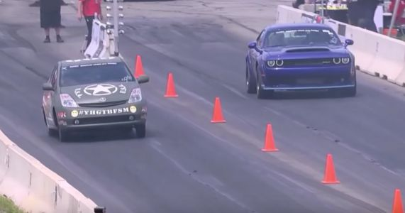 This Dodge Challenger Demon Was Annihilated By A Hellcat-Swapped Prius