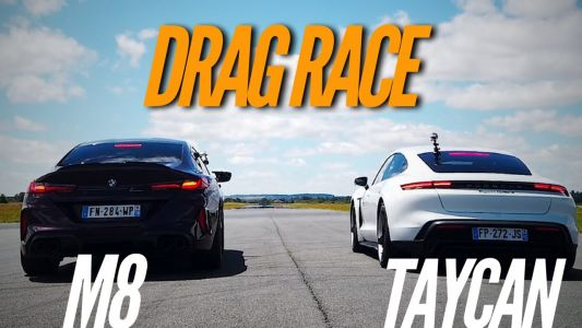 Watch Porsche Taycan Turbo S Drag Race BMW M8 Gran Coupé Competition