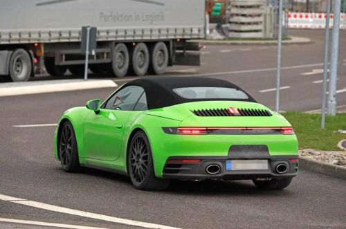 Bright Green Porsche 911 (992) Cabriolet Seen Testing