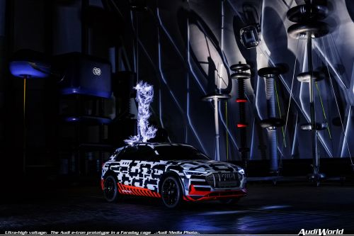 Ultra-high voltage: The Audi e-tron prototype in a Faraday cage